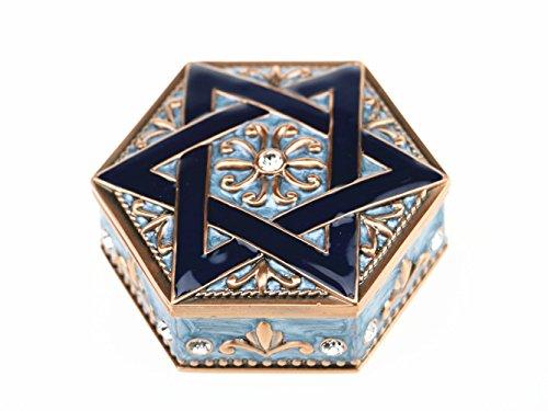 Jewish Mogen Trinket Box Jewelry Box Gift Decorations Artwork Handicrafts David Star Necklace Shield of David Soloman Hexagram Six Star Metal Jewelry Box