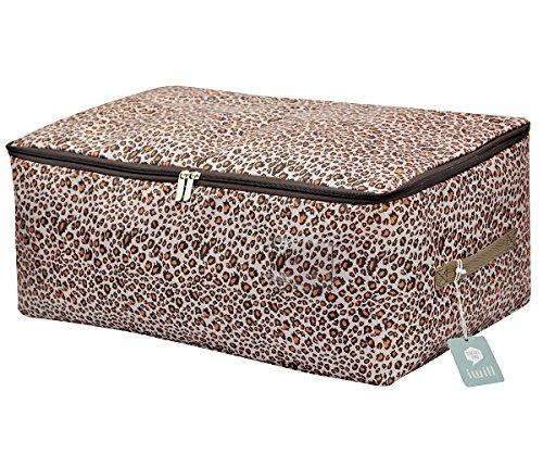 Clothes Quilt Underwear Apparel Garments Storage Organizer Box Three-Open Zipper and Handles Washable Leopard print L
