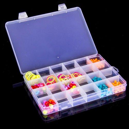 Angelduck 24 Compartment Slot Plastic Jewelry Organizer Box