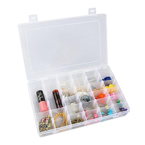 OUNONA 36-Grid Plastic Jewelry Organizer Box Storage Container Case