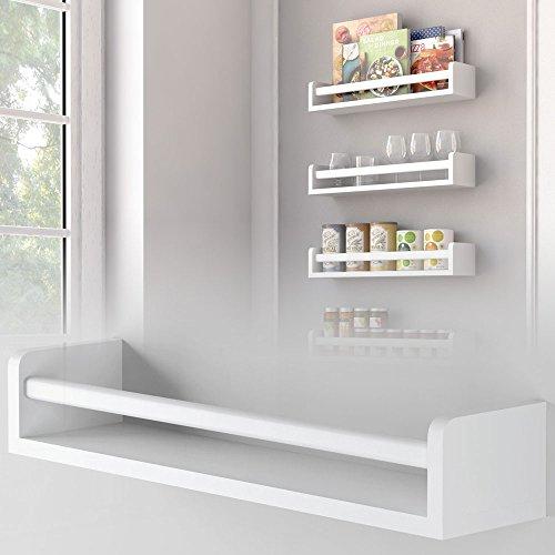 Set of 3 Kitchen Wall Shelf Spice Rack Organizer Wood 175 Inch White