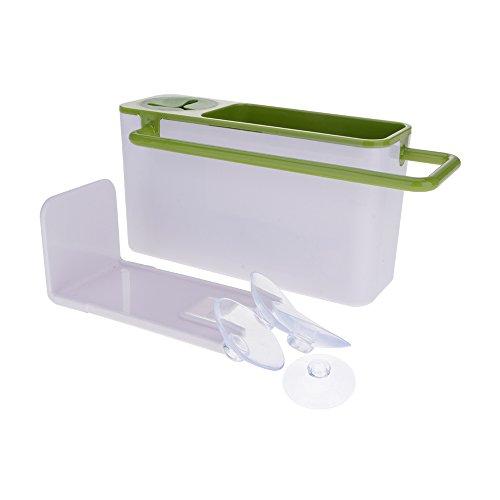 VANKER Suction Cup Kitchen Sink Holder Bathroom Plastic Storage Shelf Rack Organizer White