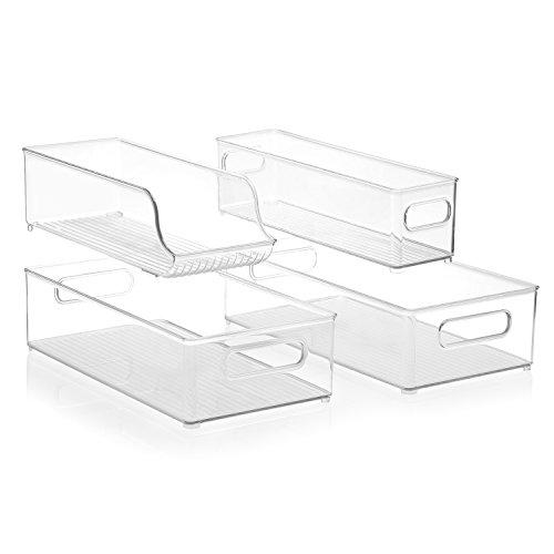 InterDesign Stackable Kitchen Storage Organizer Bins for Fridge Freezer Pantry and Cabinet Organization 4 Piece