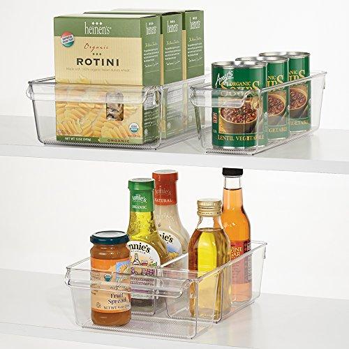 mDesign Kitchen Cabinet Organizers Storage for Fridge Freezer Pantry Set of 3 - Clear