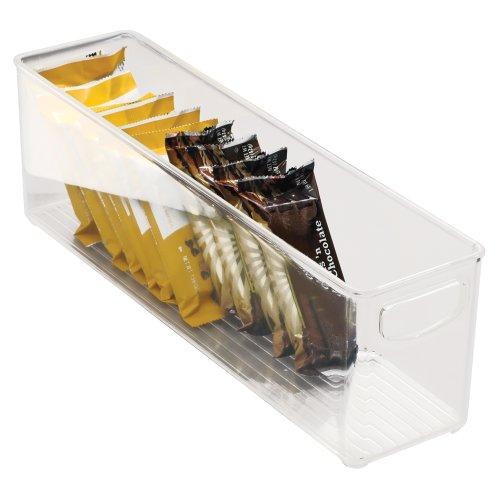 InterDesign CabinetKitchen Binz Kitchen Storage Container Long Plastic Storage Boxes for The Fridge Freezer or Pantry Clear