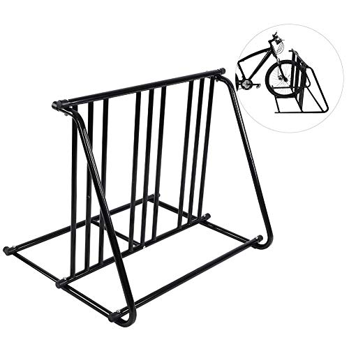 GOTOTOP Bikes Floor Mount Parking HD Steel Rack Storage Bicycle Yard Outdoor Stand for 6 Bicycle in Garage or Home Organizer and Upright Park Your Road MountainKids or Hybrids Bikes