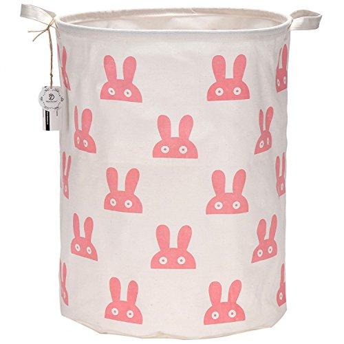 Sea Team 197 Large Sized Waterproof Coating Ramie Cotton Fabric Folding Laundry Hamper Bucket Cylindric Burlap Canvas Storage Basket with Cute Bunny Design Pink