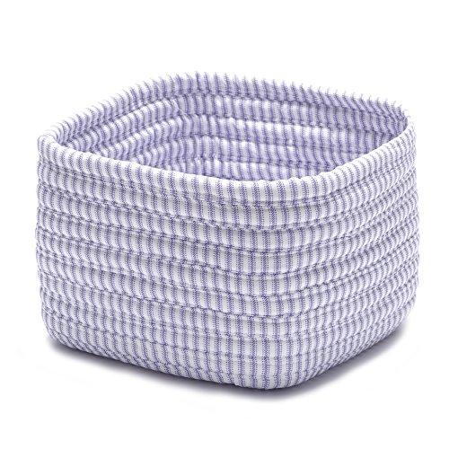 Ticking Shelf Storage Square Basket 11 by 11 by 8-Inch Amethyst