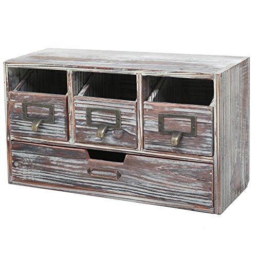 Rustic Brown Torched Wood Finish Desktop Office Organizer Drawers  Craft Supplies Storage Cabinet