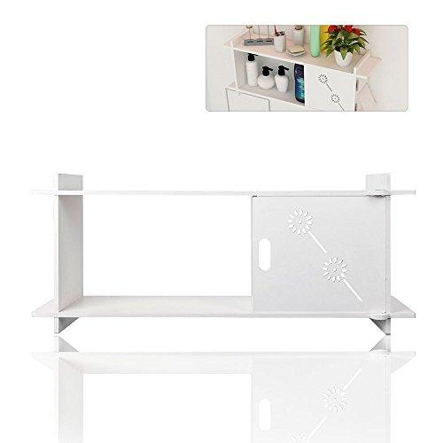 TopHomer Bathroom Shelf White Kitchen Storage Wall Mounted Cabinet Towel Organiser Rack 1 Door Easy Install Home Storage Decor