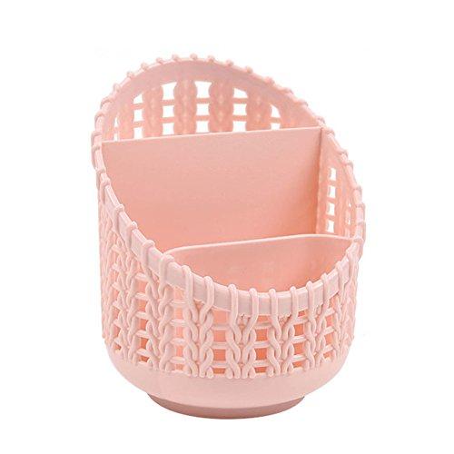 Nikgic Plastic Hollow Pattern Desktop Organizer Storage Basket Finishing Box Cosmetics Debris Case Desk Storage Container-Pink