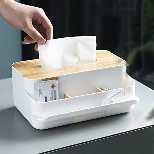 Quaanti Desktop Storage Tissue BoxBamboo Cover Tissue BoxesRectangular Pumping Paper Cover Case Tissue Box Dispenser Napkin Holder Pen Pencil Remote Desk Storage Container for Home Office White