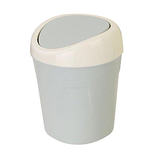 Yosooo Plastic Mini Desktop Waste Trash Rubbish Can with Lid Portable Table Storage ContainerBlue