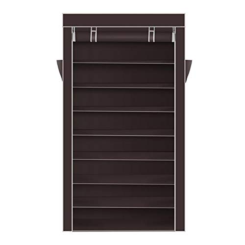 EtchedYelo 10 Tiers Shoe Rack with Dustproof Cover Closet Shoe Storage Cabinet Organizer Dark Brown