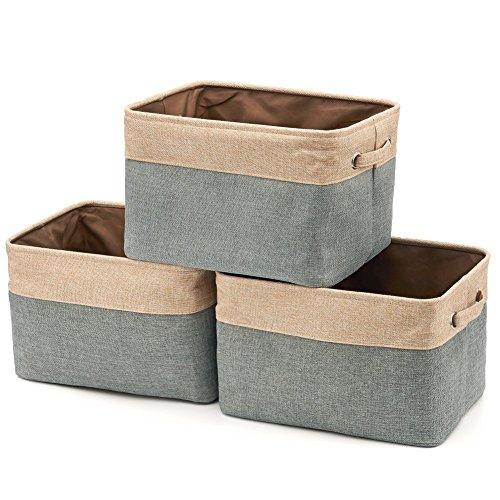 3Pcs Collapsible Storage Basket Cotton Jute Organizer Bin With Handles Home Office Closet Box
