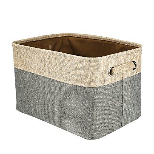 Collapsible Storage Basket Cotton Jute Organizer Bin With Handles Home Office Closet Box