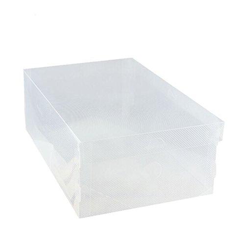 Interbusiness Clear Plastic Foldable Shoe Storage DIY Transparent Box for Home Office Closet Organization Set of 2