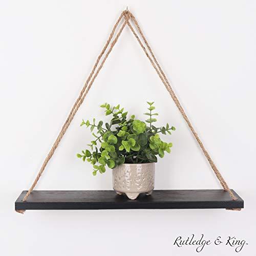 Rutledge King Hanging Wall Shelves - Hanging Rope Shelf - Wooden Hanging Storage Shelves - Modern Swing Rope Floating Shelf Single Black