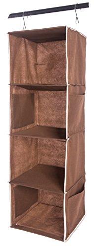 Shinetidy Hanging Closet Organizer 4 Shelf Foldable Hanging Storage Shelves Fabric Coffee