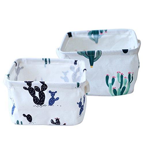 Fieans Foldable Storage Bins Set of 2 Closet Dresser Drawer Storage Organizer Baskets with Handles for Baby Toys Makeup Socks - Cactus