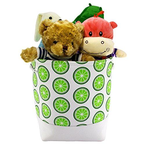 Jacone Cute Fruit Pattern Cotton Fabric Storage Bucket Baby Nursery Hamper Toy Storage Basket with Carry Handles for Kids Bedroom Shelves Closets Lemon