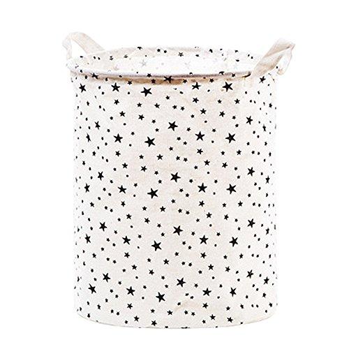 Yiuswoy Cotton Fabric Folding Laundry Storage Basket Dirty Clothes Hamper Round Laundry Bag Closet Storage Bin Toy Storage Organization - Star