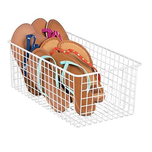 mDesign Deep Wire Closet Storage Basket for Clothes Sandals Purses - Matte White