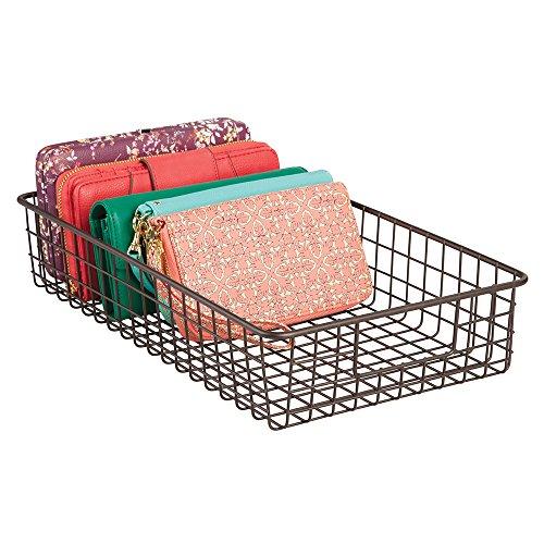 mDesign Wire Closet Storage Organizer Basket for Clutch Purses Shoes Accessories - Wide Bronze