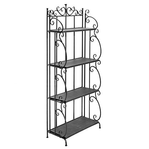 57-Inch Folding Black Metal Wood Bookshelf  4 Tier Storage Organizer Shelves Rack