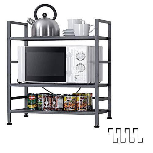 EKNITEY Kitchen ShelvingAdjustable Kitchen Bakers Rack Microwave Oven Stand Utility Metal Storage Shelf with Hooks3-Tier