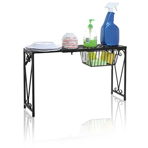 MyGift Black Metal Scrollwork Design Expandable Over-The-Sink Storage Organizer Shelf Rack wPull-Out Drawer