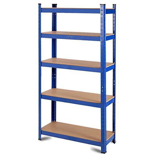 Tangkula Metal Storage Shelves 60inches Heavy Duty Frame Organizer 5-Tier Garage Shelf Multi-Use Storage Shelving Unit Storage Rack with Adjustable Shelves 30L×12W×60H 1