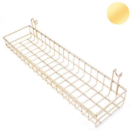 ZONYEO Gold Basket for GridwalGrid Panel Hanging Organizer Wire Metal Storage Shelf Rack Decor Size 157 x 39 x 2