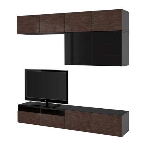 Ikea TV storage combinationglass doors black-brown Selsviken high glossbrown smoked glass 2382265112010