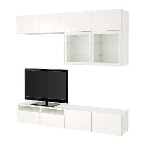 Ikea TV storage combinationglass doors white Selsviken high glosswhite clear glass 34382265141412