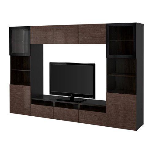 Ikea TV storage combinationglass push-open doors black-brown Selsviken high glossbrown clear glass 22022311263038