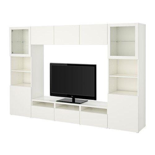 Ikea TV storage combinationglass soft-closing doors Lappviken Sindvik white clear glass 1620226517230