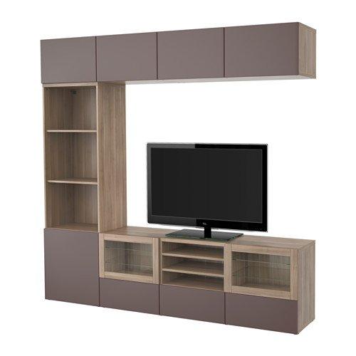 Ikea TV storage combination with push-open drawers and glass doors walnut effect light gray Valviken dark brown clear glass 6204112683026