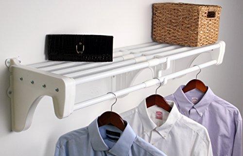 EZ Shelf - DIY Expandable Closet Shelf Rod 42 - 75 MOUNTS to Back Wallwith 2 End Brackets White