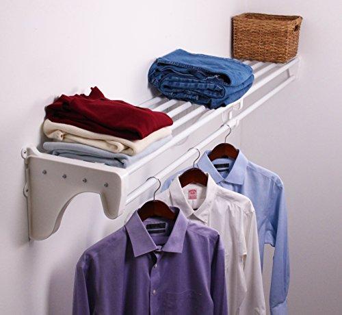 EZ Shelf EZS-SCRW72-1-1 Expandable ClosetRod Bracket for Mounting to One Side and Back Wall White