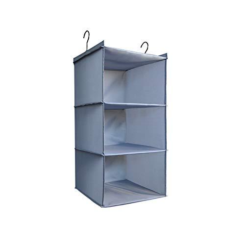IsHealthy Hanging Closet Organizer Easy Mount Foldable 3-Shelf Hanging Closet Wardrobe Storage Shelves Clothes Handbag Shoes Accessories Storage Washable Oxford Cloth Fabric Gray