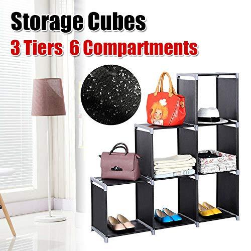 3 Tiers Storage Cube Closet Home Office Organizer Shelf 6 CubesBookcase Storage