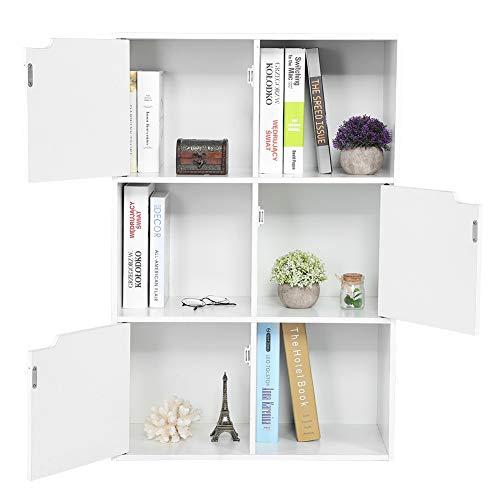 EBTOOLS 354 x236x114inch 6 Cube Bookcase 3 Door Bookcase Cabinet Wooden Bookshelf Storage 3 Tier Shelf Divider Organization for Home Office Decor
