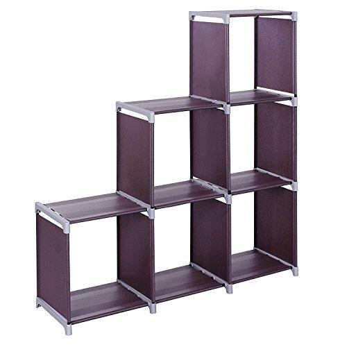 Little-Tomato DIY Storage Cabinets 3-Tier Storage Cube Closet Organizer Shelf 6-Cube9-Cube Cabinet Bookcase DurableMultifunctionalDark Brown 6 Cubes