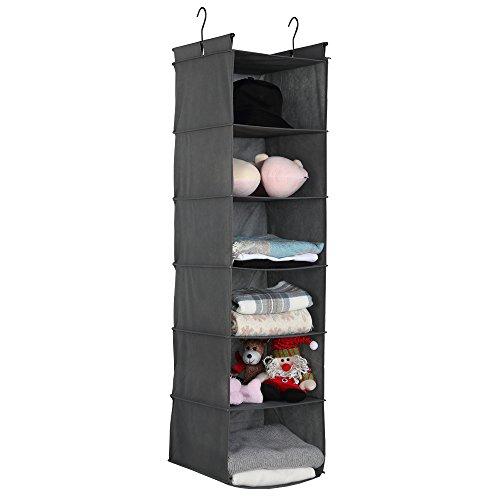 DECLUTTR 6-Shelf Hanging Closet Organizer12x12x48Grey