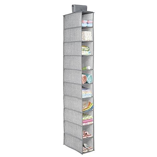 InterDesign Aldo Fabric Hanging Closet Storage Organizer for Shoes Handbags Clutches - 10 Shelves Gray