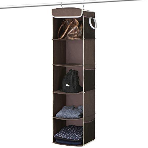Titan Mall Hanging Shelf 5 Shelves Hanging Closet Organizer Nursery Closet Organizer 11x10x45 Bronze