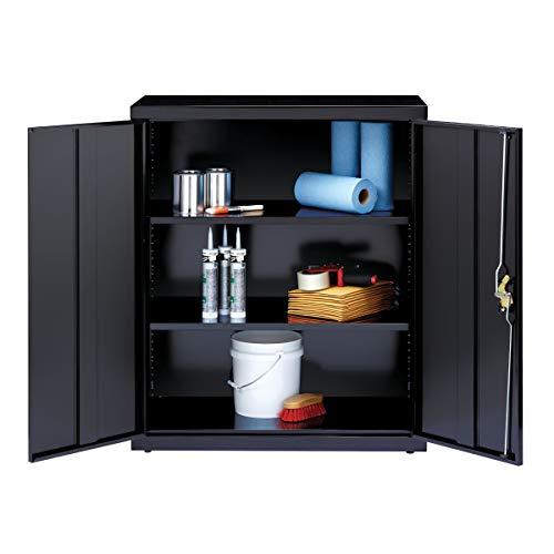 3 Shelf Metal Storage Cabinet Black Steel Adjustable Shelving