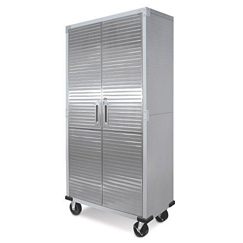 Metal Storage Cabinet 4 Shelves Rolling Tool Garage Warehouse Studio Shelving Stainless Steel Locking File Doors - House Deals