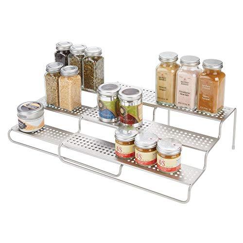 mDesign Adjustable Expandable Kitchen Wire Metal Storage Cabinet Cupboard Food Pantry Shelf Organizer Spice Bottle Rack Holder - 3 Level Storage - Up to 25 Wide - Satin